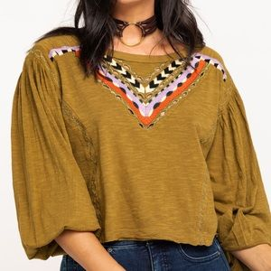Free People Hand Me Down Top Green Size Medium